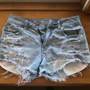 American eagle high waist jean shorts